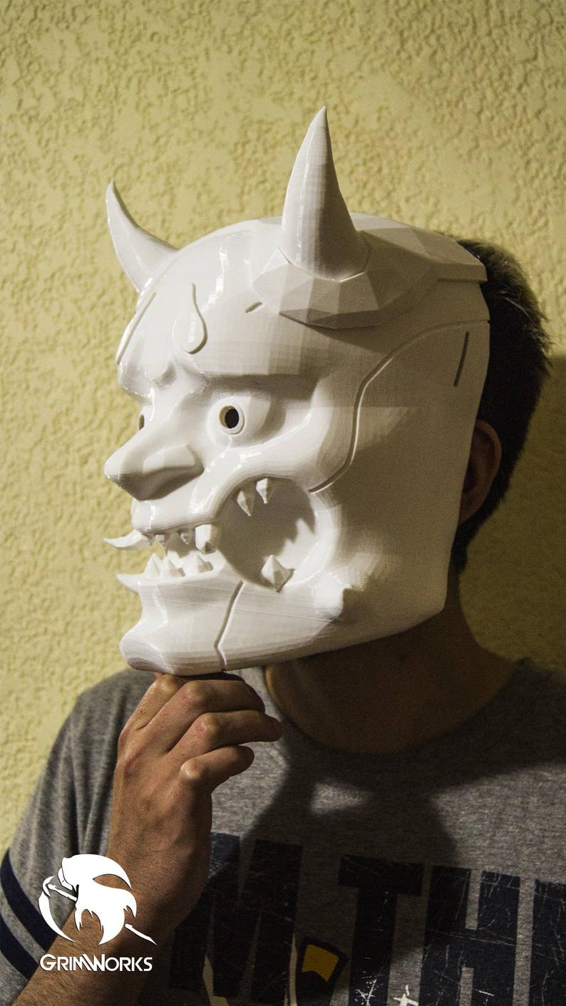 Oni Genji Mask, Overwatch, Cosplay Genji, deflection blade, dragon blade